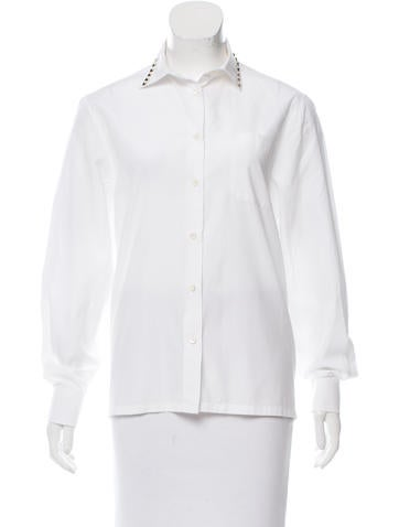 Valentino Rockstud-Accented Button-Up Blouse None