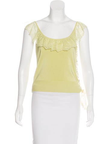 Valentino Lace-Accented Knit Top None