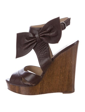 Valentino Bow-Accented Leather Wedges None