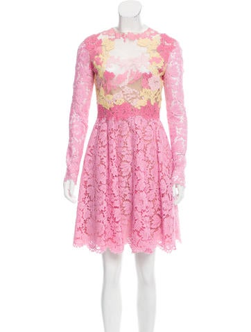 Valentino Long Sleeve Lace Dress None