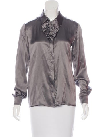 Valentino Silk Bow-Accented Blouse w/ Tags None