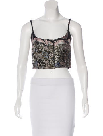 Valentino Cropped Brocade Top None