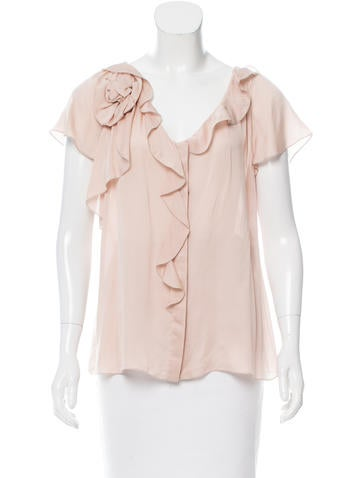 Valentino Ruffle-Trimmed Silk Top w/ Tags None