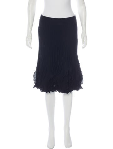 Valentino Wool Pleated Skirt None