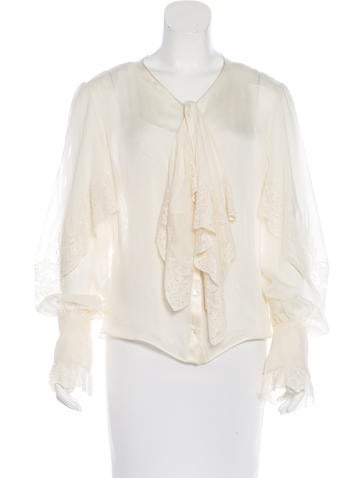 Valentino Lace-Trimmed Silk Top None