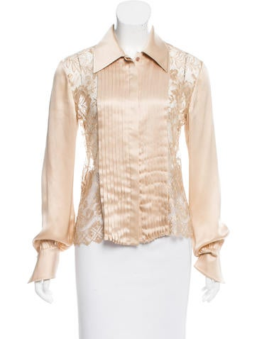 Valentino Silk Lace-Accented Top None