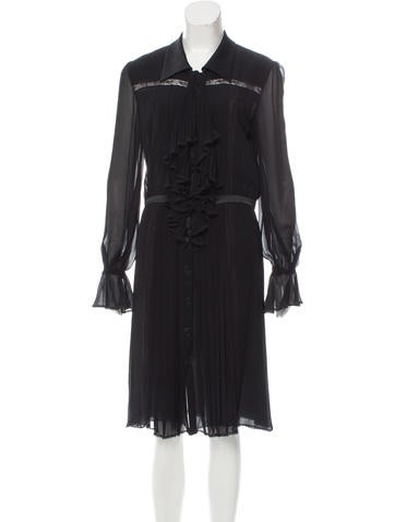 Valentino Silk Lace-Trimmed Dress None