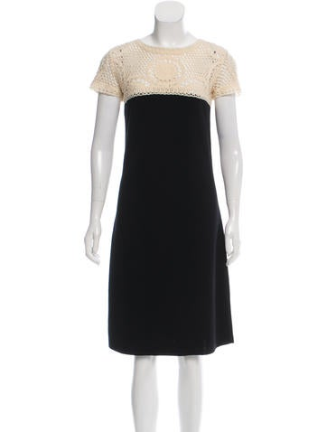 Valentino Crochet-Accented Wool Dress None