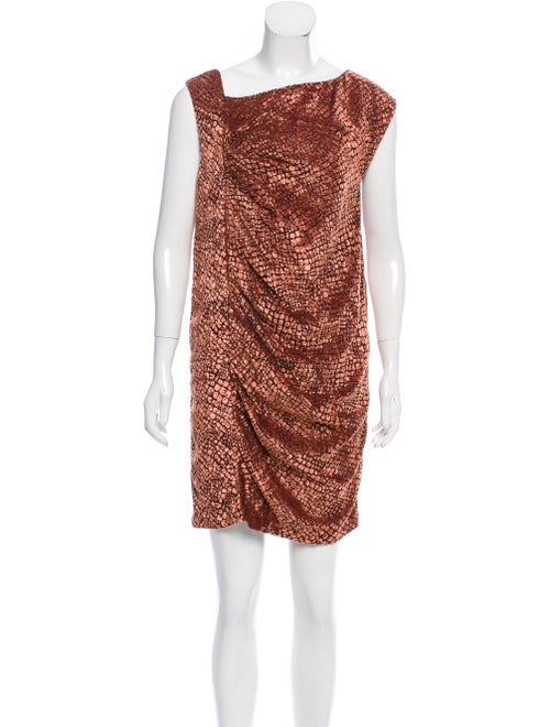 Valentino Ruched Devoré Dress brown