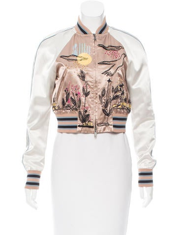 Valentino Embroidered Cropped Bomber None
