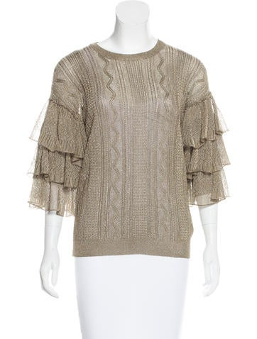 Valentino Metallic Ruffle Top None