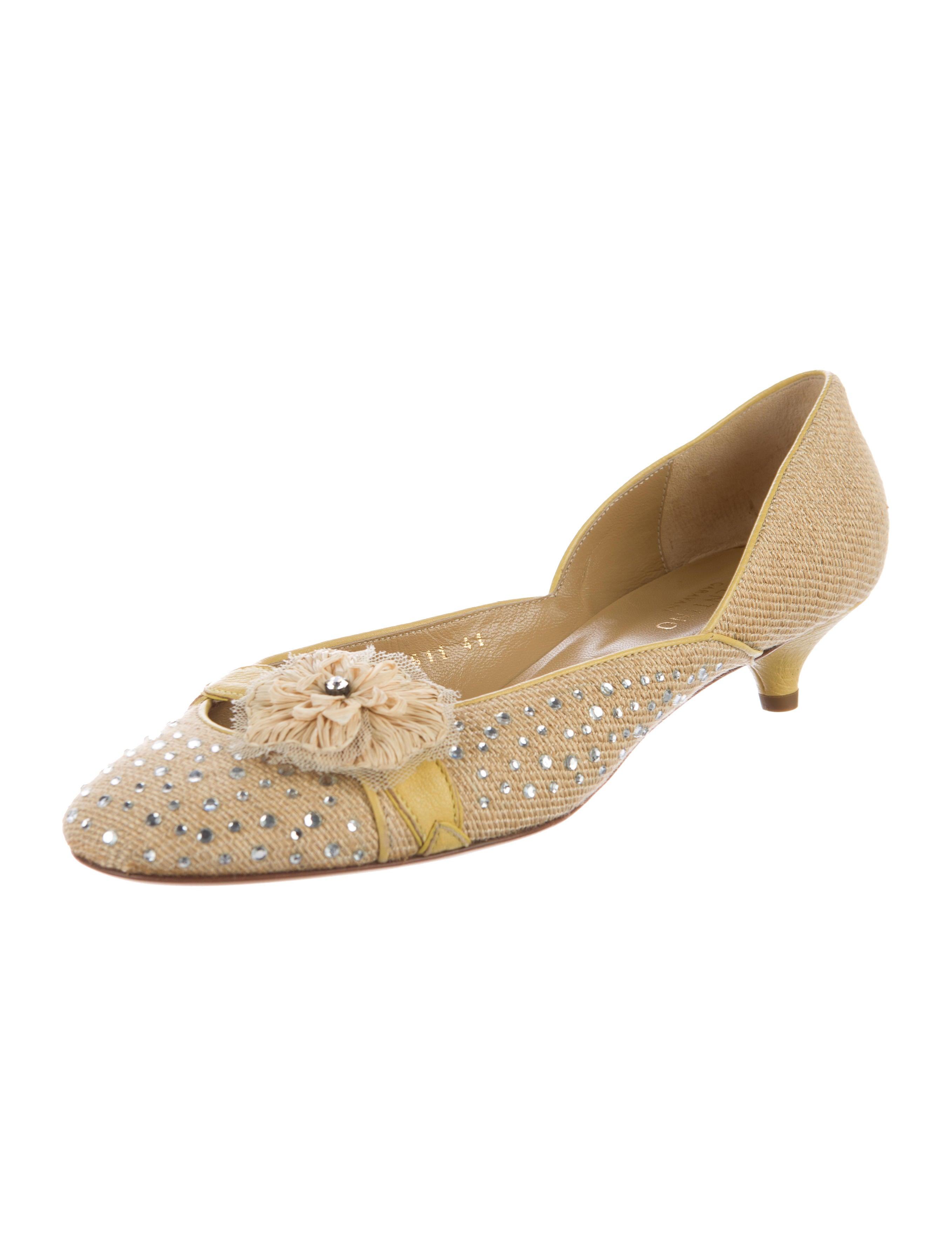 sale best seller sale Inexpensive Valentino Embellished Raffia Pumps free shipping footlocker pictures nabWUU
