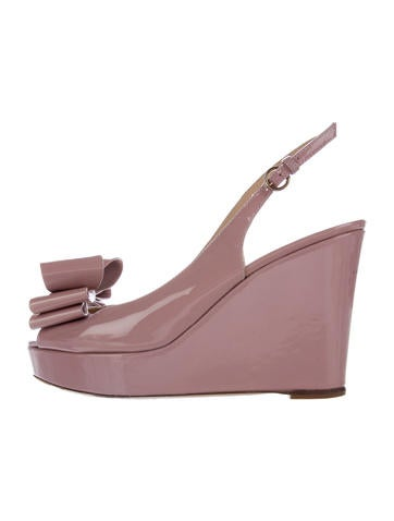 Valentino Patent Leather Slingback Wedge None