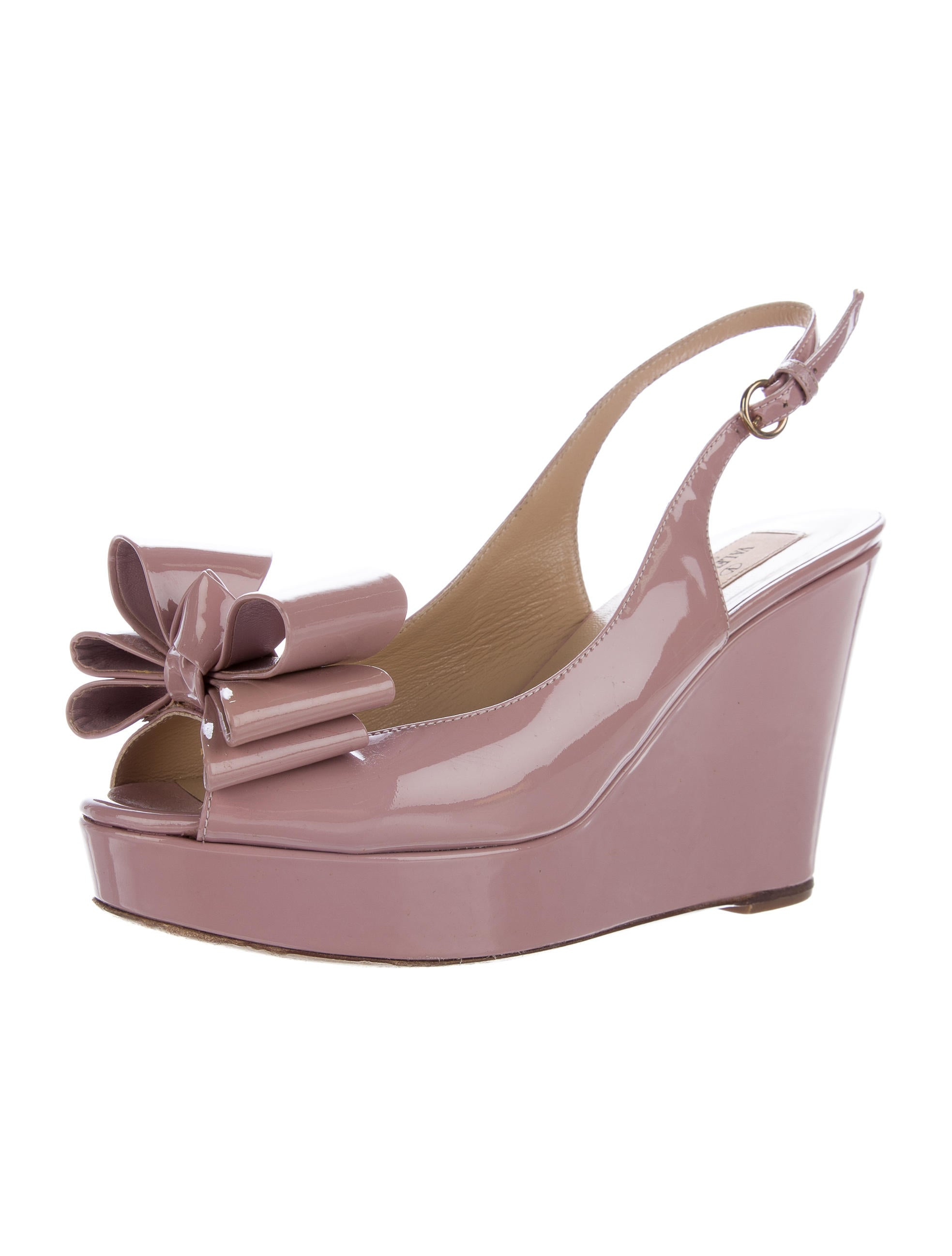 Valentino Patent Leather Slingback Wedge Shoes