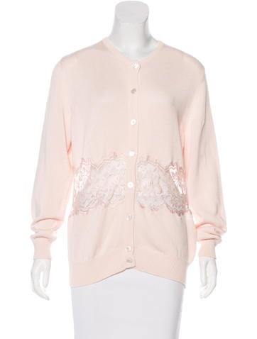 Valentino Vintage Lace-Accented Cardigan None