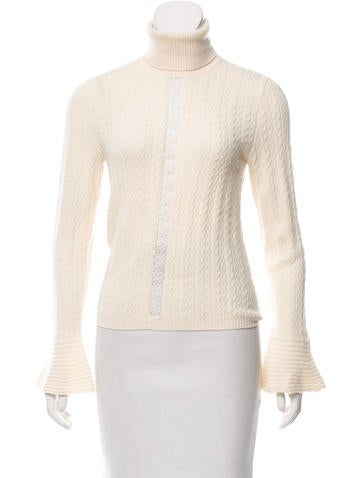 Valentino Lace-Accented Virgin Wool Turtleneck. None