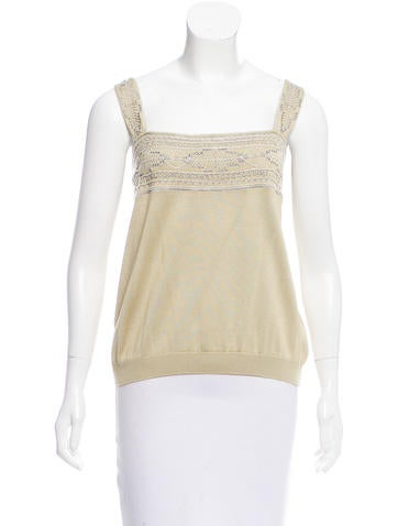 Valentino Beaded Sleeveless Top None