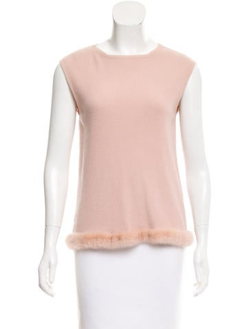 Valentino Mink-Trimmed Wool Top None