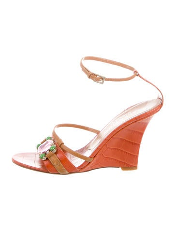 Valentino Leather Crystal-Embellished Wedges None