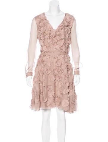 Valentino Silk Floral Appliqué Dress None