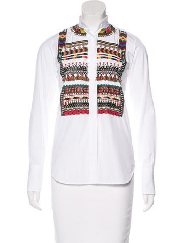 Valentino Embellished Long Sleeve Top w/ Tags None