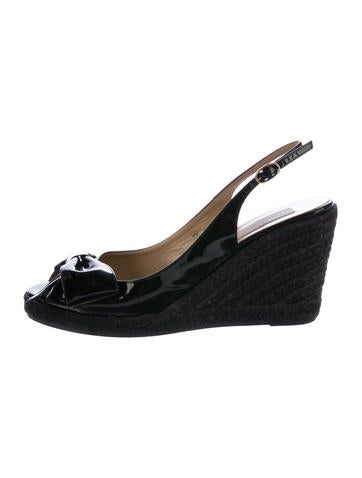Valentino Patent Leather Bow Wedges None