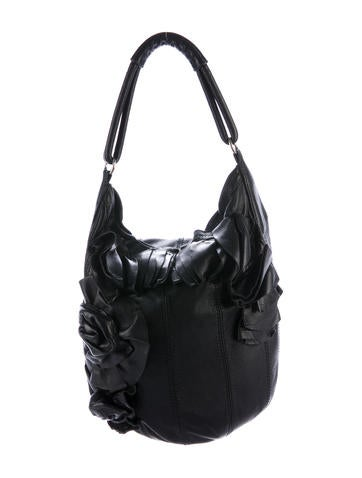 Valentino Leather Ruffle-Trimmed Hobo None