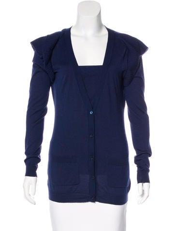 Valentino Wool & Silk Knit Cardigan Set None