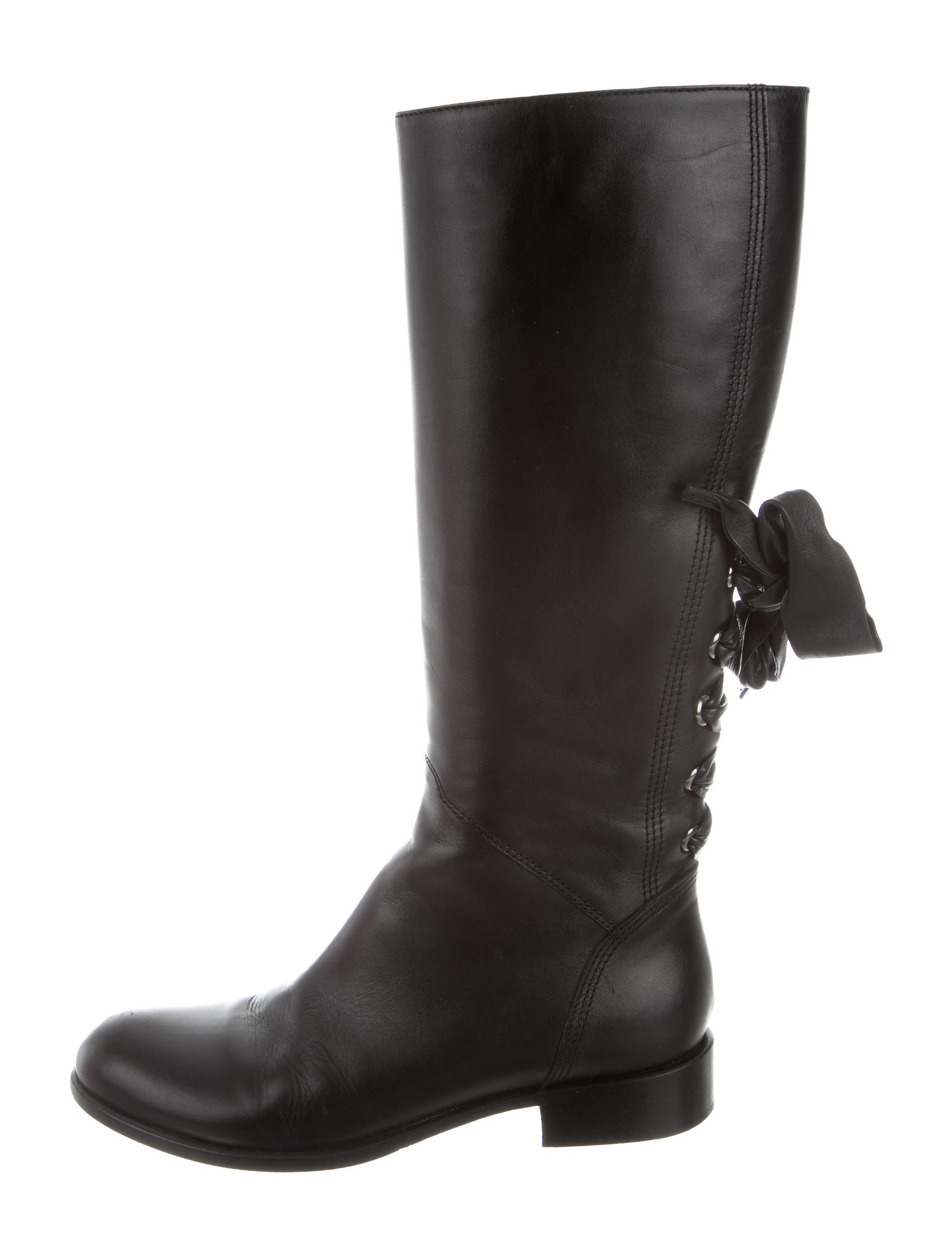 valentino bow accented knee high boots shoes val67761