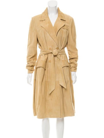 Valentino Double-Breasted Suede Coat None
