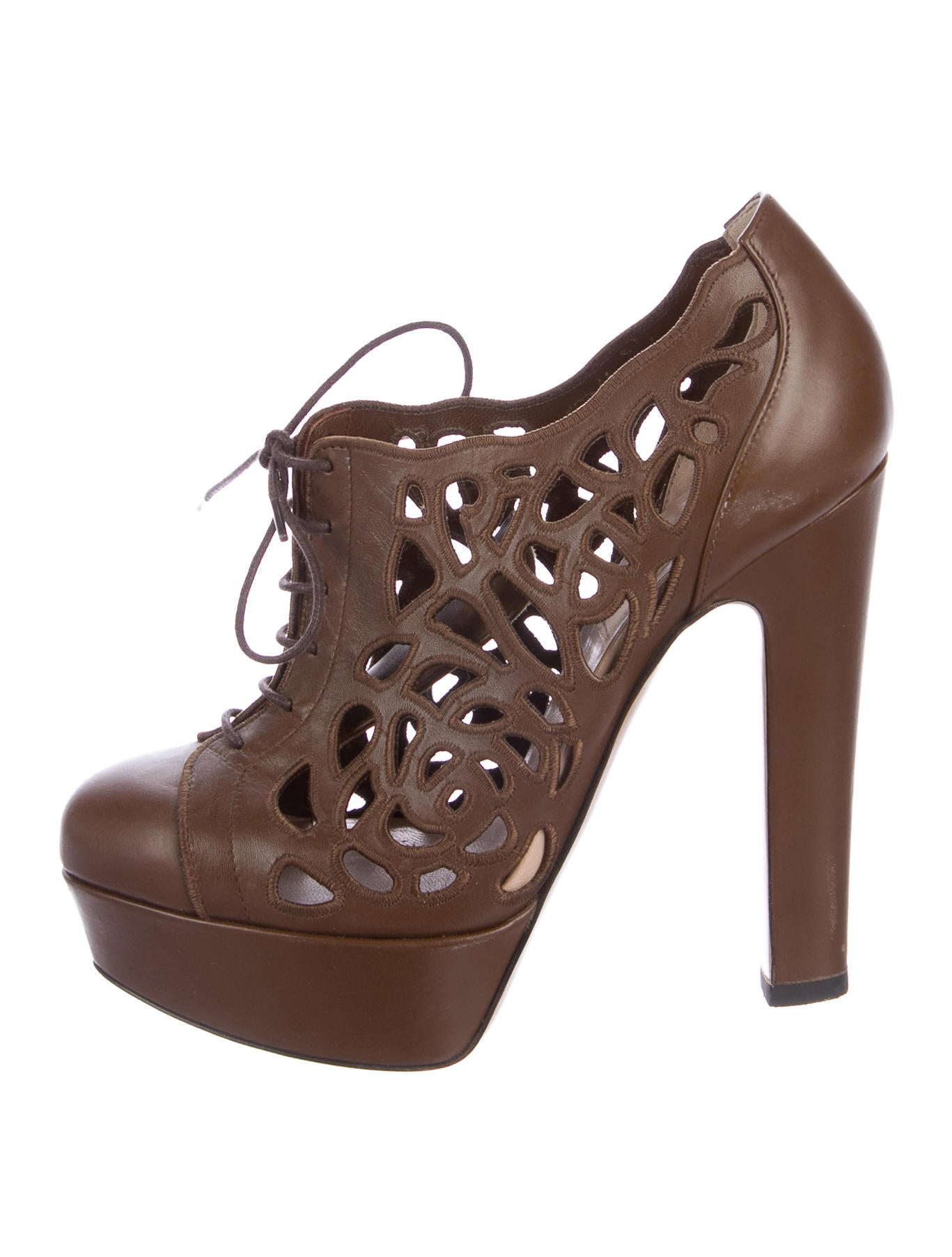 Valentino Leather Laser Cut Platform Booties amazing price cheap sale explore lVbgrIY