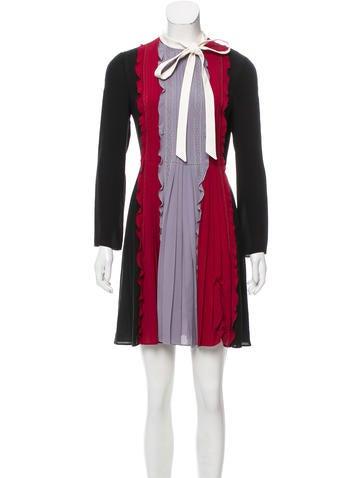Valentino Silk Lace-Accented Dress None
