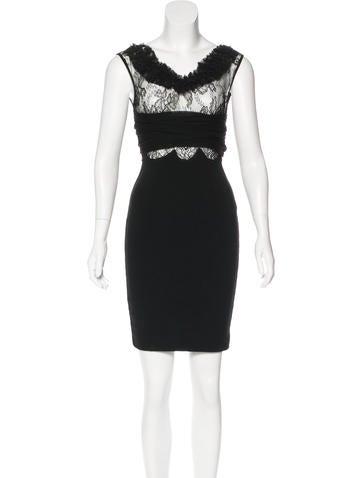 Valentino Lace-Accented Sheath Dress None