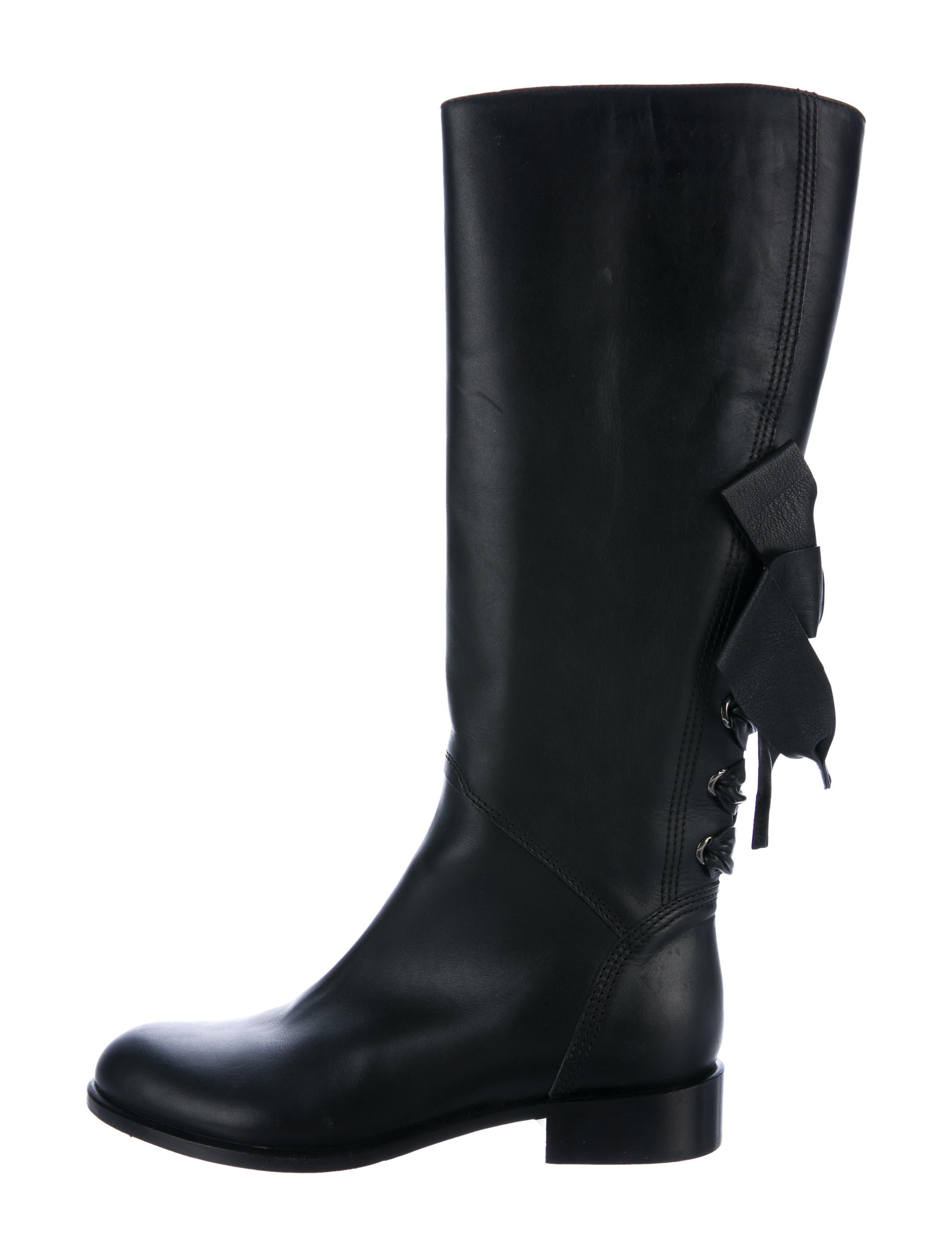 valentino bow accented knee high boots shoes val69235