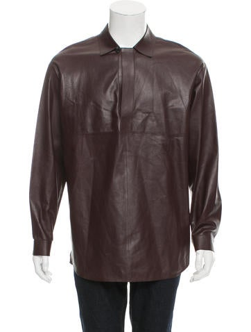 Valentino Point Collar Leather Shirt w/ Tags None