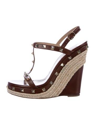 Valentino Rockstud Espadrille Wedge Sandals None