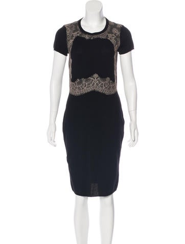 Valentino Wool Lace-Accented Dress None