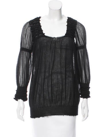 Valentino Semi-Sheer Long Sleeve Top w/ Tags None