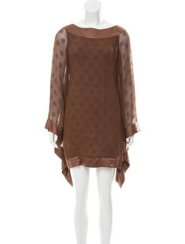 Valentino Bell Sleeve Silk Dress None