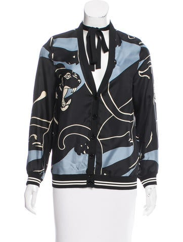 Valentino 2017 Silk Panther Print Top None