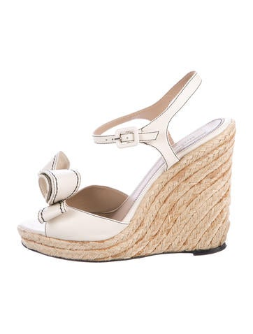 Valentino Bow-Embellished Platform Wedge Sandals None