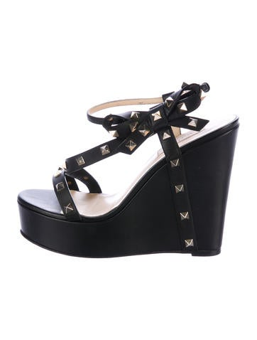 Valentino Rockstud Platform Wedge Sandals None