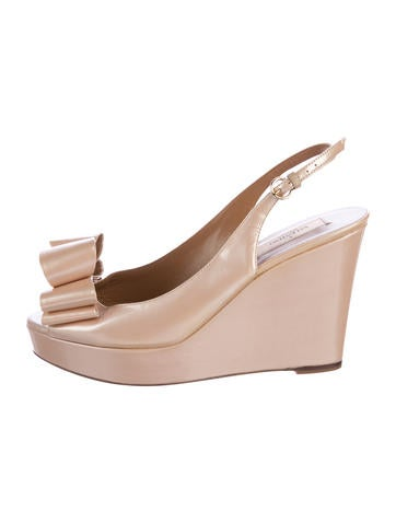 Valentino Bow Patent Leather Wedge Pumps None