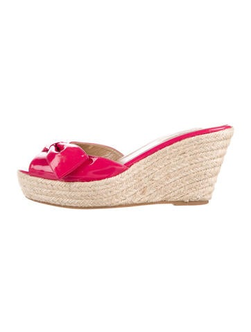 Valentino Bow-Accented Espadrille Wedges None