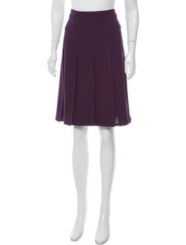 Valentino Pleated Virgin Wool Skirt None