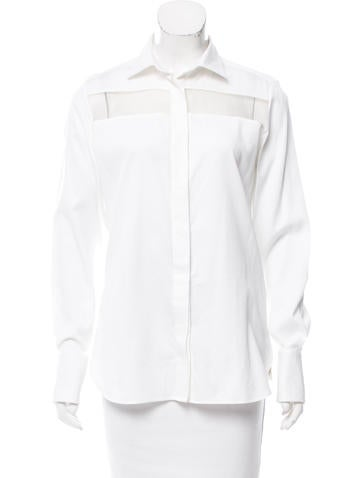 Valentino Sheer-Accented Long Sleeve Top w/ Tags None