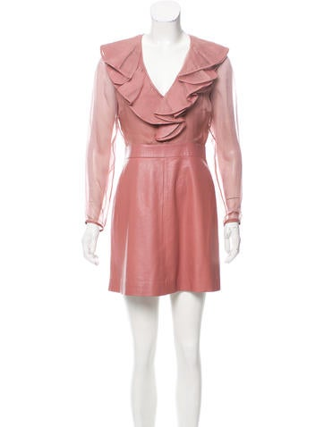 Valentino Long Sleeve Leather Dress None