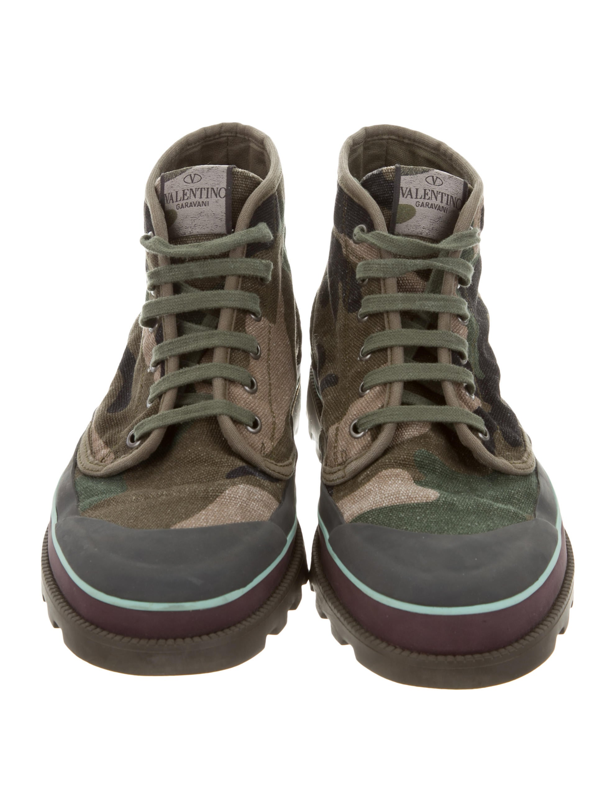 valentino camouflage sneaker boots - shoes