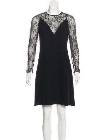 Valentino Silk Lace-Paneled Dress None