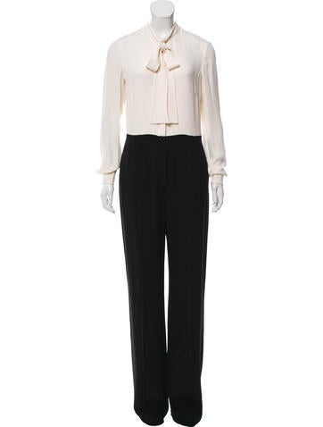 Valentino Long Sleeve Silk Jumpsuit None